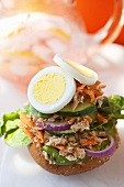 Open Tuna Salad Sandwich with Boiled Egg