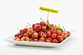 Plate of Organic Cherries with Sign