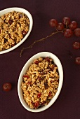 Baked Granola Crumble in Individual Dishes; Grapes