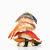Assorted Seafood Stacked; White Background