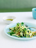 Raw Food Salad with Zucchini on a Blue Plate; Fork