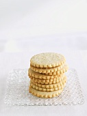 Stacked Butter Cookies on a Glass Plate