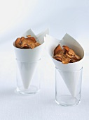 Two Paper Cones of Sweet Potato Chips