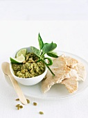Roasted Pumpkin Seed Dip with Pita Bread