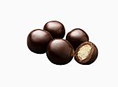Dark Chocolate Malted Milk Balls; White Background