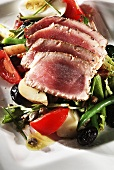 Sliced Seared Tuna on a Bed of Veggies