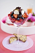 Mixed Berries in a Stem Glass Topped with Yogurt