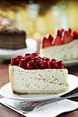 Slice of Cheesecake with Fruit Topping