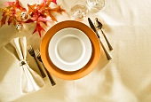 Autumn Place Setting with Fall Leaves