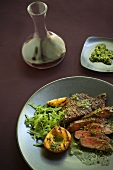 Steak with Pesto Sauce; Grilled Peach and Greens