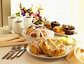 Breakfast Table Set with Assorted Baked Goods; Coffee