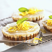Individual Lemon Tarts with Cashew Almond Crusts; On Cooling Rack