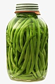 Green Beans in a Glass Jar; White Background