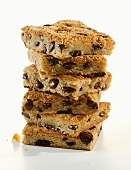 Chocolate Chip Blondies; Stacked on White Background