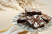 Christmas Brownies with Snowflake Design