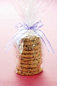 Oatmeal Raisin Cookies Wrapped for a Gift