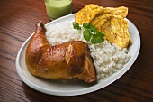 Roast Chicken with Rice and Plantain