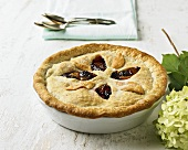Deep Dish Blackberry and Peach Pie; Hydrangea and Spoons