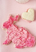 Red and Pink Easter Bunny Cookie with Heart Cookie