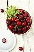 Container of Fresh Red Cherries with Stems; From Above