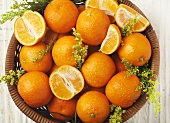 Bowl of Clementines; Whole, Halves and Wedges