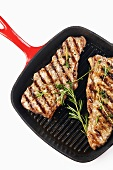 Grilled Steak in a Grill Pan with Rosemary