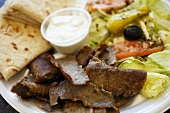 Gyro Plate with Shawarma and Pita Bread