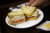 Tuna Salad Sandwich with Tomato on a Plate; Diner