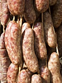 Strings of Fresh Sausage in the Market; Cuneo, Piemonte, Italy