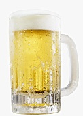 A cold lager in a glass tankard