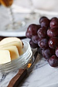 Sliced Cheese and Fresh Grapes; Port
