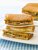 Various Grilled Cheese Sandwich Halves; Stacked