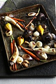 Roasted Mixed Vegetables on a Baking Sheet