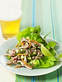 Thai Turkey Lettuce Wraps with Lime-Flavored Lager Dressing