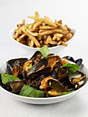 Skillet Roasted Mussels with Basil; French Fries