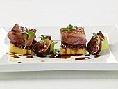 Duck breast on polenta with figs