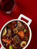 Beef stew with beans, carrots and onions