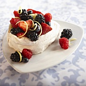 Mixed Berries in a Meringue Bowl