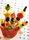 Fruit Kabobs in a Piece of Watermelon