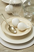 White Place Setting with White Fruit