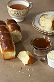 Loaf of Challah Bread with Tea