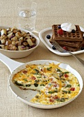 Breakfast Spread; Egg White and Asparagus Frittata, Home Fries and Waffles