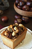Mixed Nut Tart on a Plate