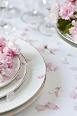 Table Set with Cherry Blossoms and Petals