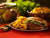 Sliced Barbecue Pork Sandwich with Chips