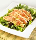 Salmon Salad on a Square White Dish