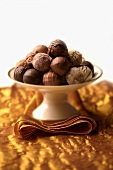 Chocolate Truffles on a Pedestal Dish