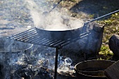 Smoke and Steam Rising From a Skillet Over an Open Campfire