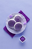 Lavender Whoopie Pies on a Purple Plate with Blossoms; From Above