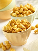 Two bowls of home-made caramel corn puffs